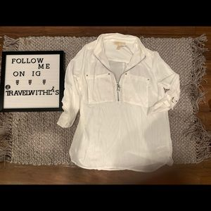 Michael Kors White Collared Blouse Small